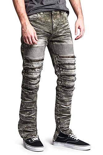 G-Style USA Distressed Acid Wash Zipper Accent Ankle Zip Layered Biker Slim Jeans DL1115 - Olive - 32/30 - A6F