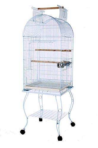 PetcageMart Metal Playtop Parrot Bird Cage with Stand, 20 by 20 by 65-Inch, White (Playtop Birdcage Bird)