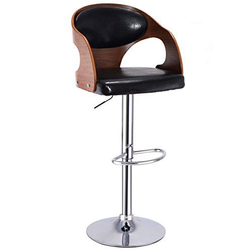 Costway Walnut Bentwood Swivel Adjustable Height Bar Stool with Black Back & Vinyl (Black Vinyl Swivel Bar Stool)