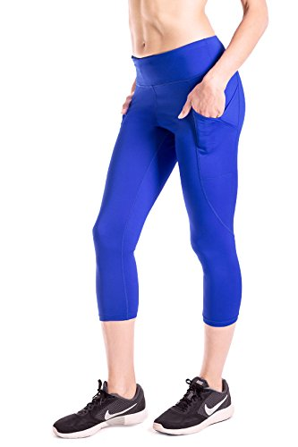 Royal Blue Womens Capris (Yogipace Women's Side Pockets Yoga Workout Running Capris Cycling Tights without Chamois Royal blue Size M)
