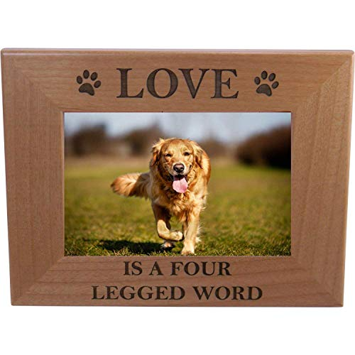 - CustomGiftsNow Love is A Four Legged Word Alder Wood Picture Frame - Great Gift for a Dog Lover (5x7 Horizontal)