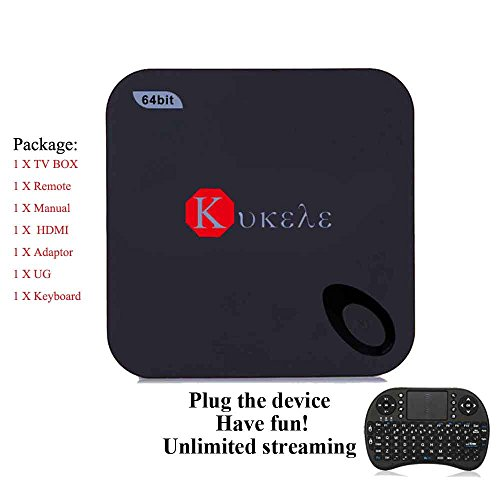 Kukele Unlocked 2GB/16GB Quad Core 64bits Android 5.1 Lollipop IPTV TV Box 4K Internet Streaming Media Player Wireless Keyboard with Media Center Player by KUKELE