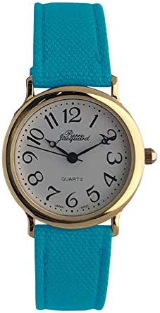 Pierre Jacquard Ladies Easy Reader Watch – Round case with Arabic numerals and colorful canvas strap