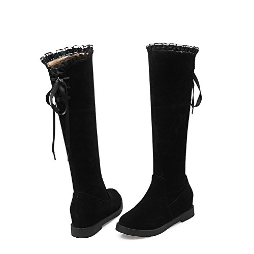 Black up Heels High Frosted Women's Toe Lace Closed Round Kitten AmoonyFashion top Boots U7SfwqB