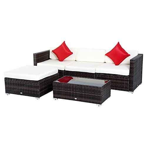 Outsunny 5-Piece Deluxe Outdoor Patio PE Rattan Wicker Sofa Chaise Lounge Furniture Set (Furniture Direct Patio Factory)
