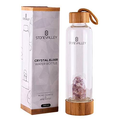 STONEVALLEY Crystal Elixir Water Bottle - Natural Rose Quartz and Amethyst Healing - with Removable Gemstones and Protective Sleeve