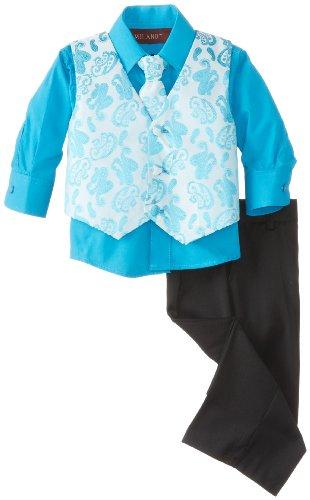Milano Couture Baby Boys' Paisley Spread Vest Set, Topaz Blue, Medium/12 ()