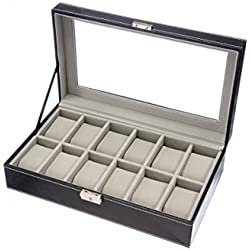 SE JT-WV5-13 Watch Valet Glass Top Jewelry Display Wood Case
