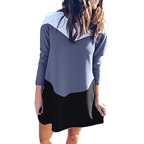 Mysky Fashion Women Casual Color Block Patchwork Mini Dress Ladies Simple Long Sleeve Dress