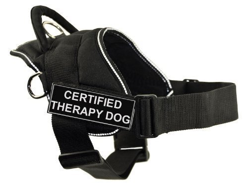DT Fun Works Harness, Certified Therapy Dog, Black with Reflective Trim, Large Fits Girth Size  32-Inch to 42-Inch