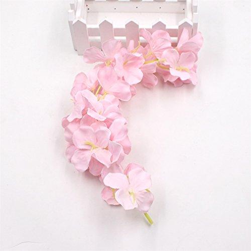 1Pcs 30Cm Home Fashion Artificial Hydrangea Party Romantic Wedding Decorative Silk Garlands Of Artificial Flowers Silk Wisteria light pink
