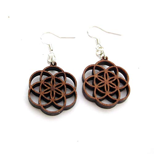 Small Casual Wooden Earrings Seed of Life, Silver hooks, 0g, Yoga ()