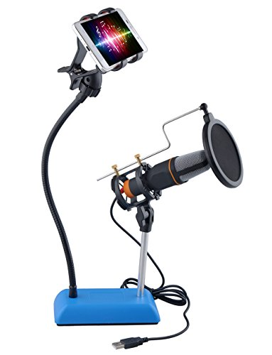 [Upgraded] DuaFire Cell Phone Microphone Stand with Pop Filter Mask,
