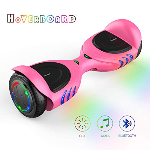 TOMOLOO Hoverboards with Bluetooth Speakers and Led Lights, Two Wheels Electric Self Balancing Hover Board for Kids & Adults- UL2272 Certified (Q2C-Pink)