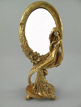 Clever Deko Schminkspiegel Gold Golden Stehspiegel Frisierspiegel