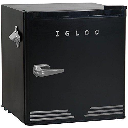 Igloo FR176-BLACK 1.6 cu. ft. Retro Bar Fridge with Side Bottle Opener, Black (Opener Retro Bottle)