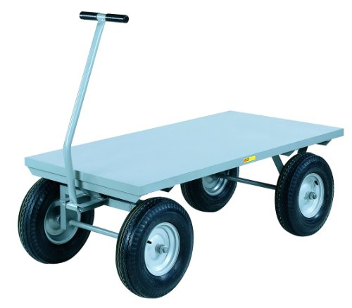 "Little Giant CH-3672-12P-FSD Steel Heavy-Duty Flush Deck Wagon Truck with 16"" Pneumatic Wheels, 2000 lbs Capacity, 72"" Length x 36"" Width x 16-1/2"" Height"