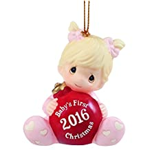 "Precious Moments 161005 Christmas Gifts, ""Baby's First Christmas 2016"", Baby Girl, Bisque Porcelain Ornament"