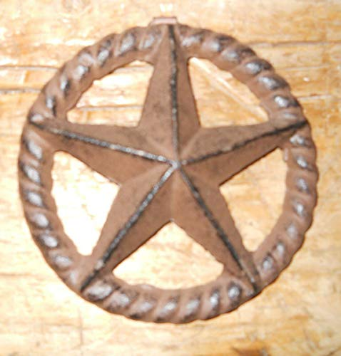 Home Decor Cast Iron Stars Architectural Stress Washer Texas Lone Star Rustic Ranch 5'' Perfect for Your Farmhouse ()
