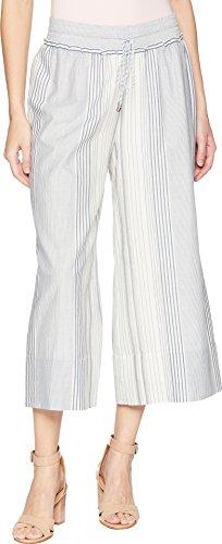 (Splendid Women's Cropped Wide Leg Pant, White/Navy, Small)