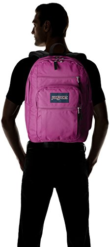 """JanSport Big Student Backpack 7 Functional lightweight backpack featuring double main compartments, mesh side pocket, front pocket with organizer, padded back, and ergonomic S-curved straps Shoulder strap length: 34.5"""" Handle has a drop of 3.25"""" and a length of 8.5"""""""