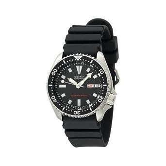 7e7e60be086 Seiko Black 21-Jewel Automatic Dive Watch with Rubber Strap  SKX173   Amazon.co.uk  Watches