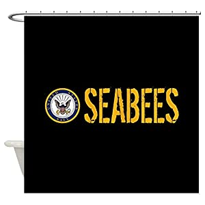 "CafePress U.S. Navy: Seabees (Black) Decorative Fabric Shower Curtain (69""x70"") from CafePress"