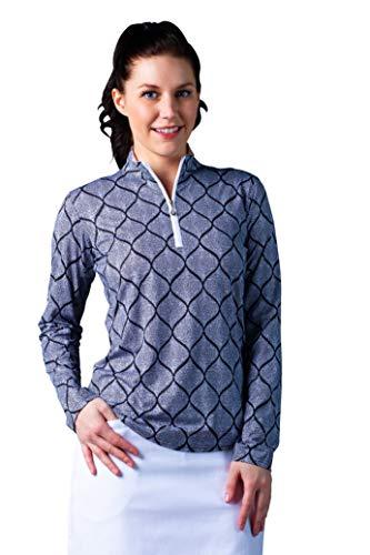 SanSoleil Women's SolCool UV 50 Long Sleeve Print Mock Top - Morocco Black - X-Large