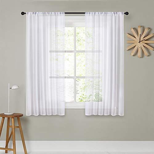 44 Pocket - MRTREES Sheer Curtains White 45 inches Long Kitchen Curtains Sheers Basement Short Curtains Living Room Small Curtain Bedroom Voile Window Curtain Panels Rod Pocket 2 Panels