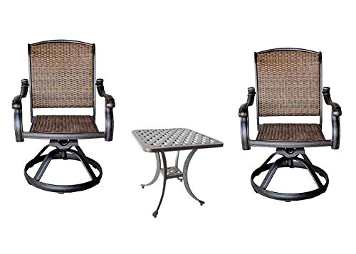 3 Piece Bistro Set Cast Aluminum Patio Furniture Outdoor 2 Santa Clara Swivel Rocker's – Nassau End Table Review