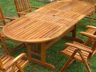 Table de jardin ovale bois ACAPULCO avec rallonges DCB ...