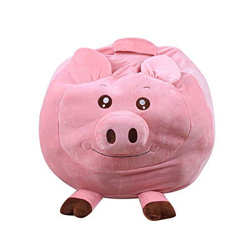 Children Toys,Dartphew 1Pcs [ Kids Stuffed Animal Plush Toy Storage Bean Bag ] - Soft Pouch Animal Fabric Chair - Great Gift - Big size Washable Durable Cotton(Size:35x25x5CM) (Pig) from Dartphew Children Toys