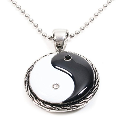 - Stainless Steel Black White Ying Yang Pendant Necklace