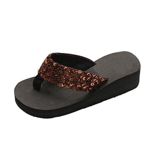 Del Mujeres Verano Afuera Chanclas youth Café La K Antideslizantes Moda Zapatos Interior Sandalias Mujer Playa Cuesta Lentejuela Plano Talón Para De Las pHwSH8q5U