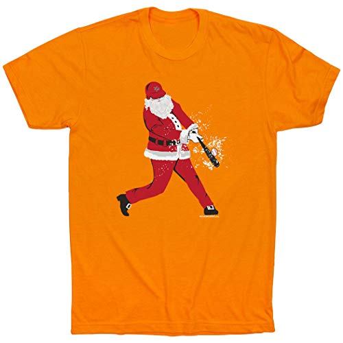 - ChalkTalkSPORTS Baseball Short Sleeve T-Shirt | Home Run Santa | Orange | X-Large