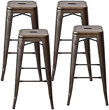 4-Sets Purzest Tolix Style Metal Counter Bar Stools