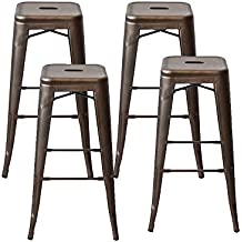 Modern Industrial Backless Tolix Style Metal Counter Stool Bar Stools with Square Seat - 30 Inch,Set of 4, Bronze