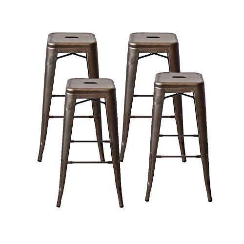 Modern Industrial Backless Tolix Style Metal Counter Stool Bar Stools with Square Seat - 30 Inch,Set of 4, - Metal Modern