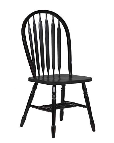 Furniture Arrowback Chair - Sunset Trading DLU-820-AB-2 Black Cherry Selections Dining Chairs, Distressed Antique rub Through