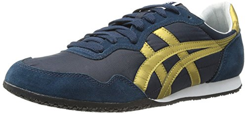 Onitsuka Tige Unisex Serrano Sport Shoe, Navy/Gold, 12 M US Women/10.5 M US Men