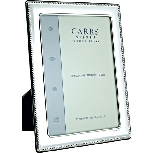 Carrs Silver Bead - Carrs Silver Bead Edge Solid Silver Photo Frame 6 x 4 Wood Back can stand portrait or landscape by Carrs