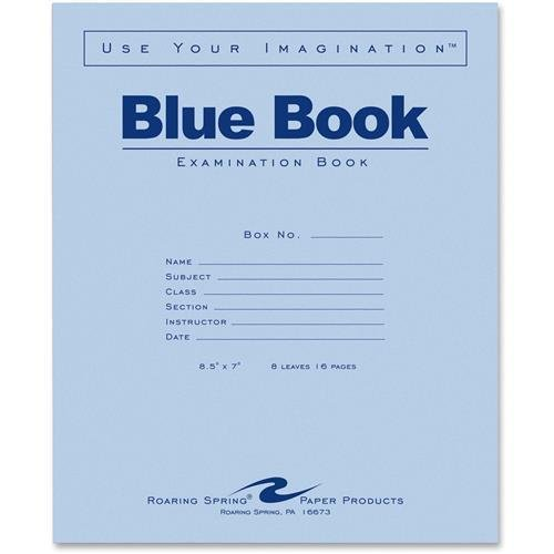 Roaring Spring Examination Book, Wide Rule, 16 Pages, 8-1/2''x7'', Blue (77512EA)