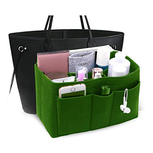 LEXSION Felt Insert Fabric Purse Organizer Bag, Bag Insert in Bag with Zipper Inner Pocket Green ()