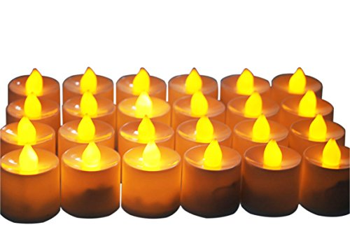 Yeeco 24 PCs Electronics LED Lighted Flickering Votive Style Flameless Tealight Candles for Christmas Wedding Thanksgiving Party Valentine's Table-top Decoration