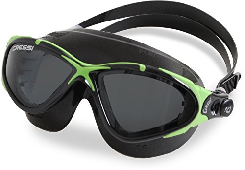 Cressi Planet Crystal Silicone Swim Goggles, Black Green - Tinted Lens