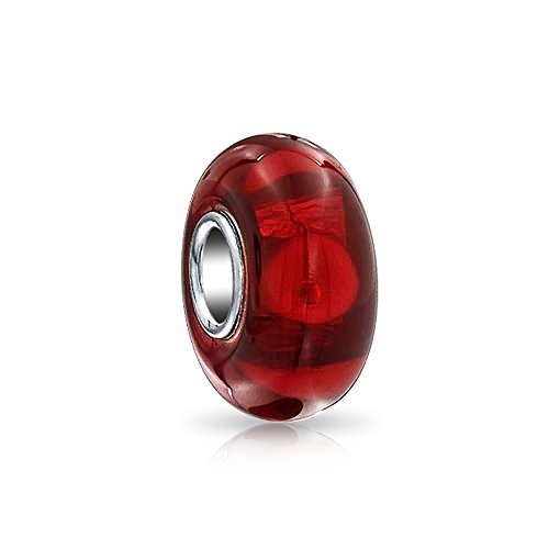 Banded Red Murano glass Lampwork Charm Bead .925 Sterling Silver