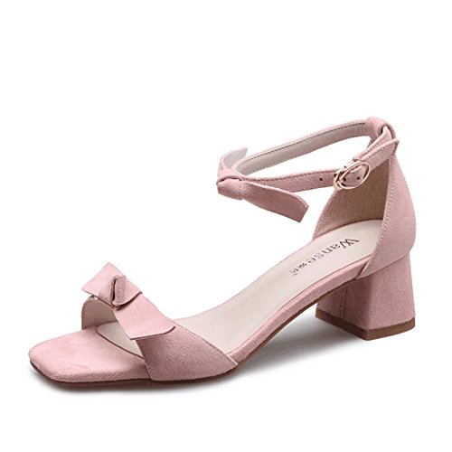 Dream Spring-Summer Women's Elegant Rough-Heel Sandals Sweet Open-Toe High Heels Pink