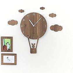 Wall Clocks Wooden Balloon Silent Non Ticking Quartz Watches For Home Kids Room Living Room Bar Decor Children Gifts Pendulum Clock,Lightbrown