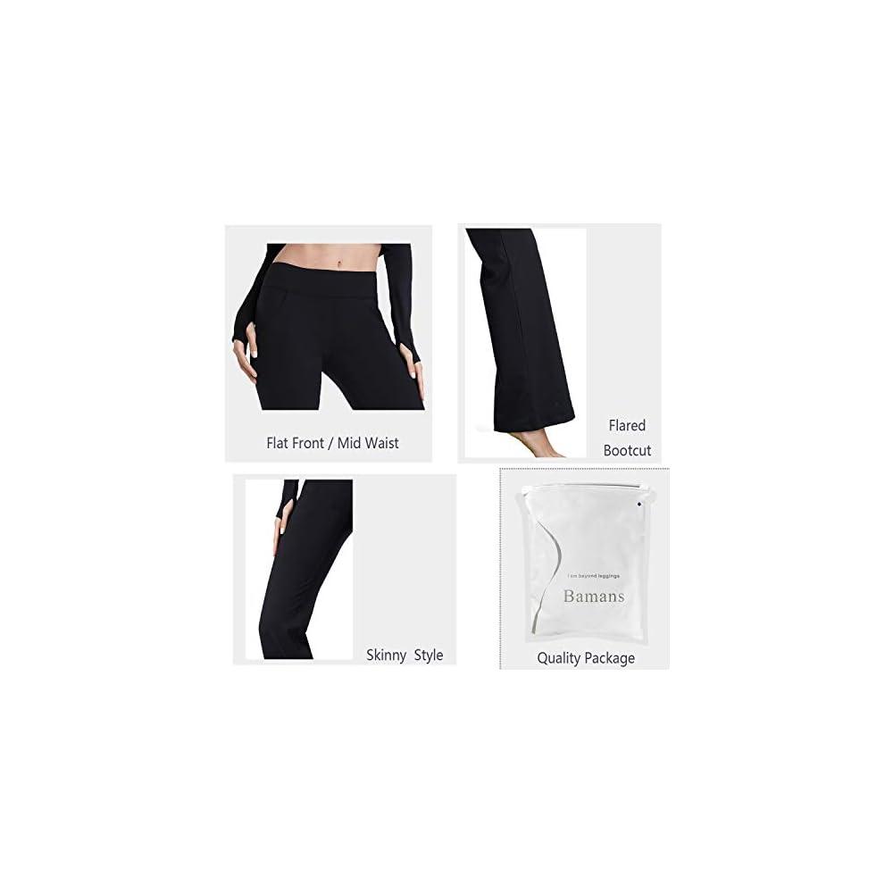 8ba4c9bdaed1b Bamans Womens Comfort Fit Bootcut Yoga Pants Tummy Control Workout ...