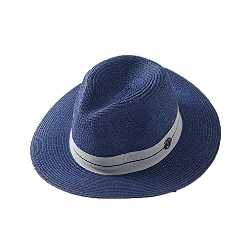 (Summer Wide Brim Beach Straw Hat Outdoor Sun Protection Adjustable Panama Jazz Cap with White Band)